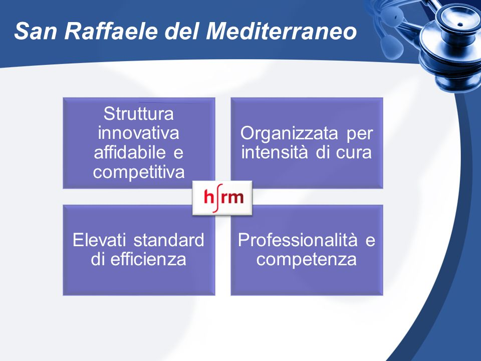San Raffaele del Mediterraneo Struttura innovativa affidabile e competitiva Organizzata per intensità di cura Elevati standard di efficienza Professio