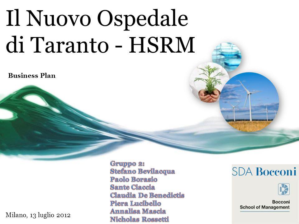 Il Nuovo Ospedale di Taranto - HSRM Business Plan Milano, 13 luglio 2012 Executive Summary: Lopportunità di mercato; Le caratteristiche distintive del