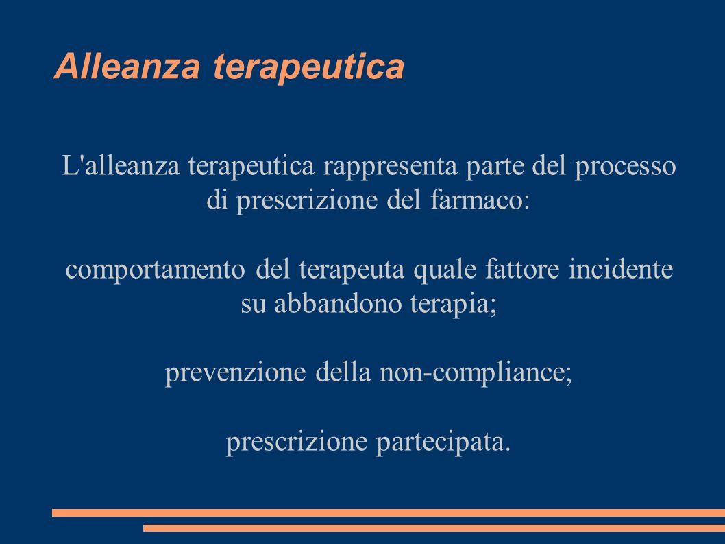Alleanza terapeutica L'alleanza terapeutica rappresenta parte del processo di prescrizione del farmaco: comportamento del terapeuta quale fattore inci