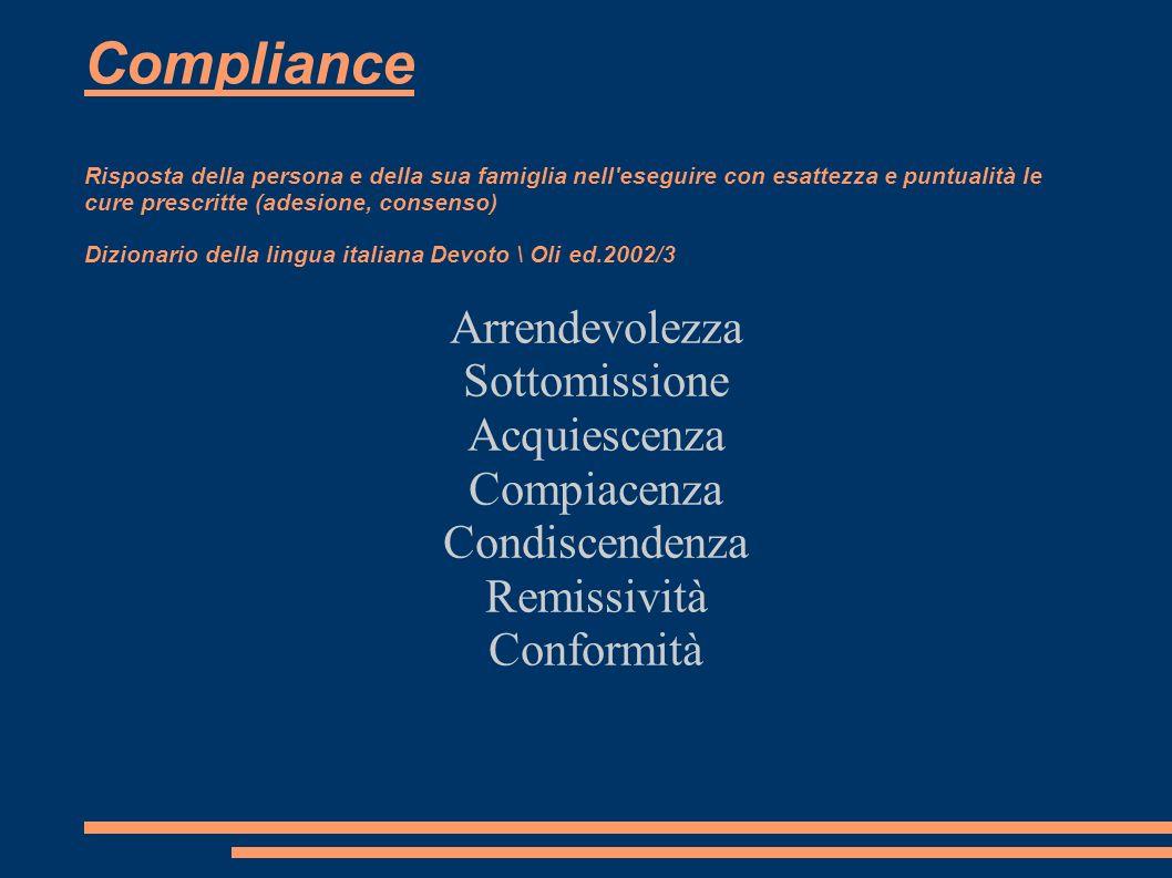 Compliance Risposta della persona e della sua famiglia nell'eseguire con esattezza e puntualità le cure prescritte (adesione, consenso) Dizionario del