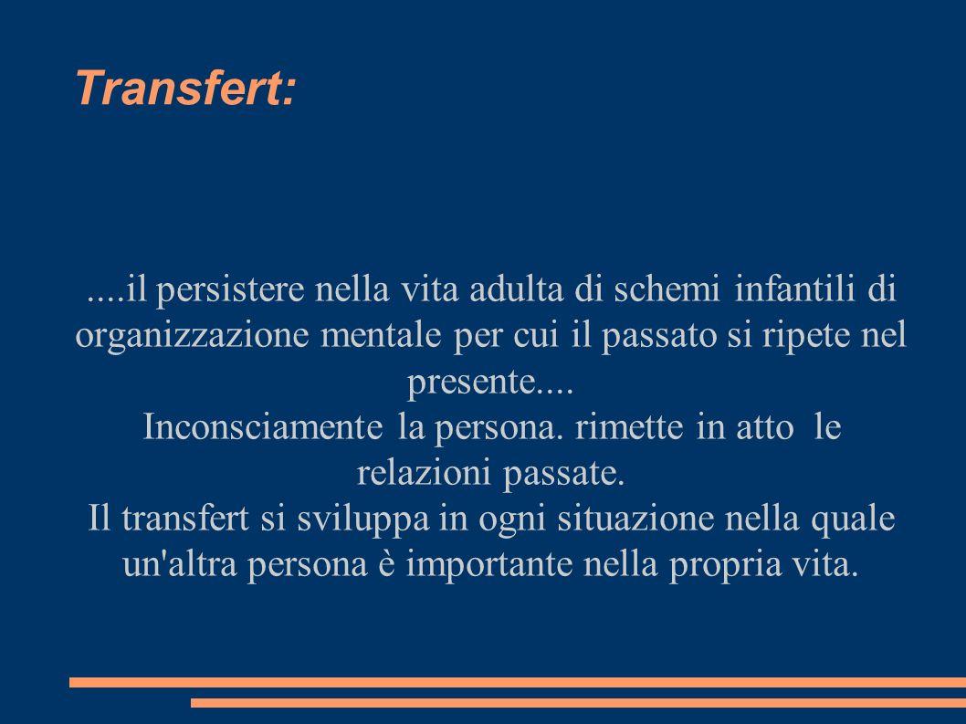 Transfert:....il persistere nella vita adulta di schemi infantili di organizzazione mentale per cui il passato si ripete nel presente.... Inconsciamen