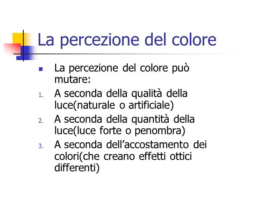 La percezione del colore La percezione del colore può mutare: 1. A seconda della qualità della luce(naturale o artificiale) 2. A seconda della quantit