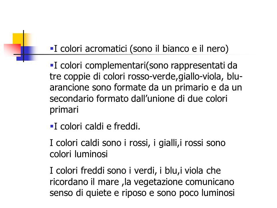 I colori acromatici (sono il bianco e il nero) I colori complementari(sono rappresentati da tre coppie di colori rosso-verde,giallo-viola, blu- aranci