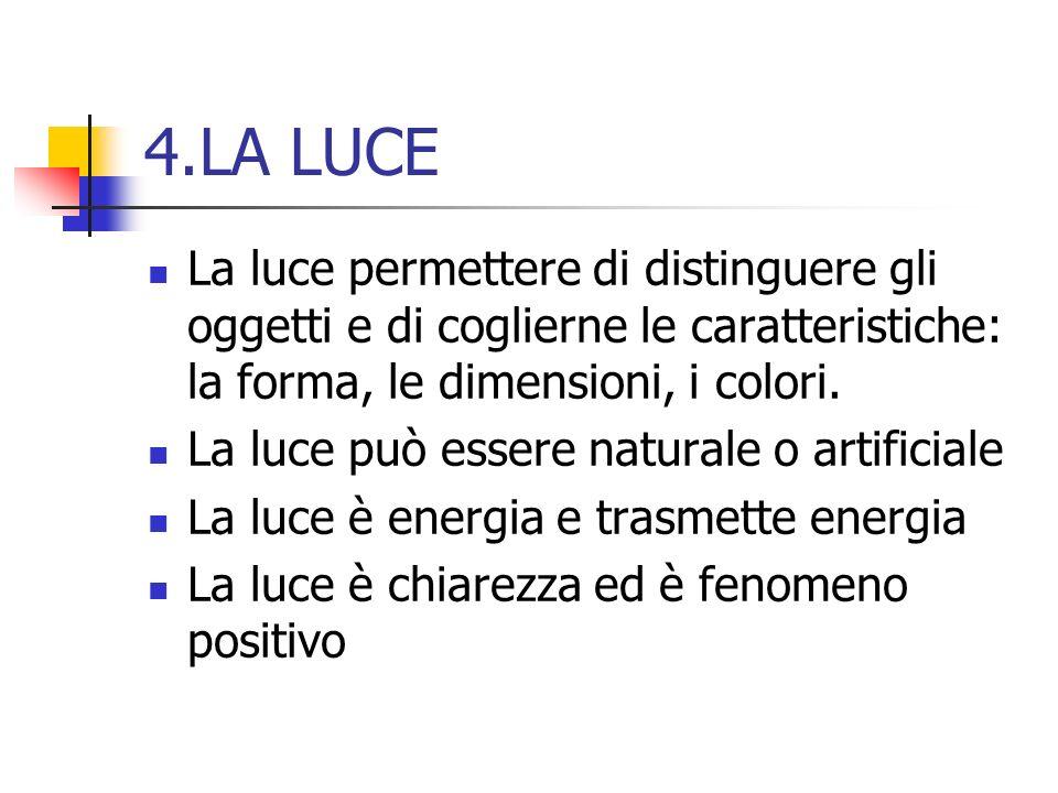 4.LA LUCE La luce permettere di distinguere gli oggetti e di coglierne le caratteristiche: la forma, le dimensioni, i colori. La luce può essere natur