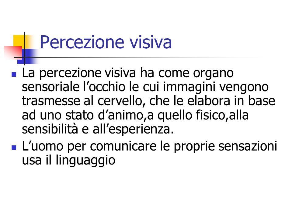 Percezione visiva La percezione visiva ha come organo sensoriale locchio le cui immagini vengono trasmesse al cervello, che le elabora in base ad uno