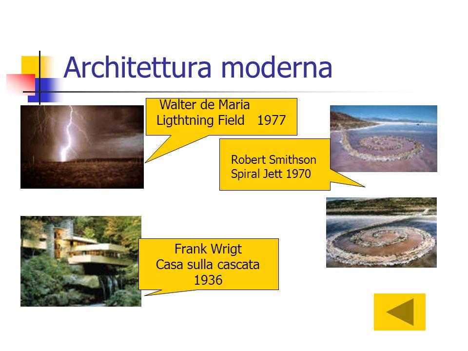 Architettura moderna Robert Smithson Spiral Jett 1970 Walter de Maria Ligthtning Field 1977 Frank Wrigt Casa sulla cascata 1936