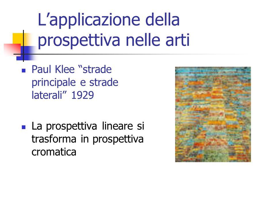 Lapplicazione della prospettiva nelle arti Paul Klee strade principale e strade laterali 1929 La prospettiva lineare si trasforma in prospettiva croma