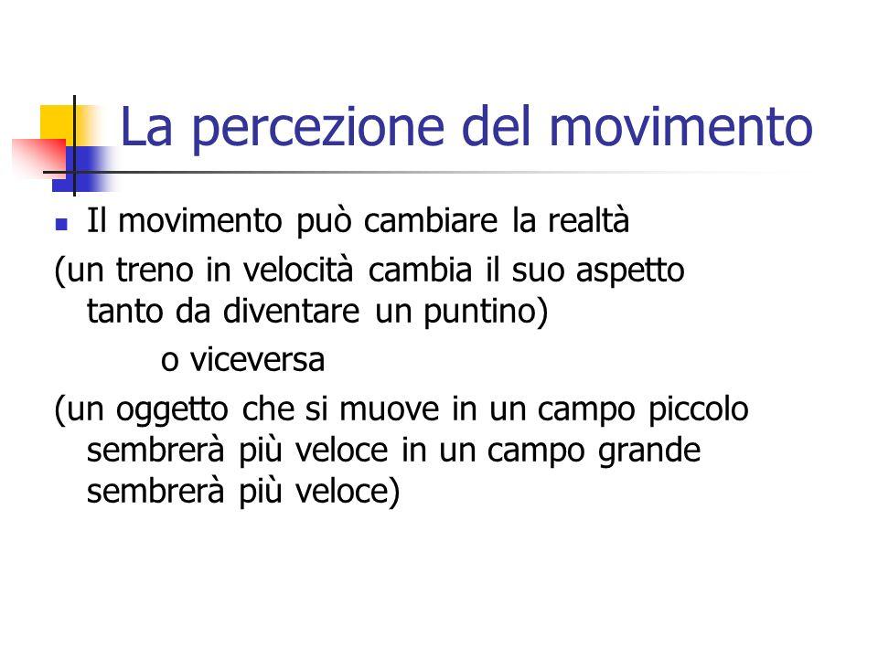 La percezione del movimento Il movimento può cambiare la realtà (un treno in velocità cambia il suo aspetto tanto da diventare un puntino) o viceversa