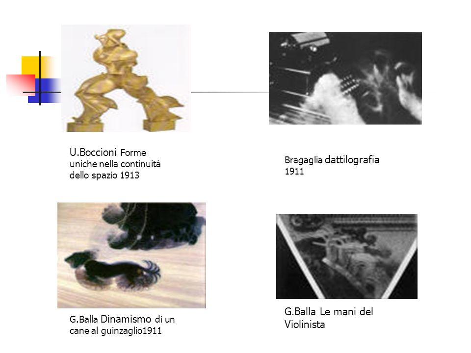 U.Boccioni Forme uniche nella continuità dello spazio 1913 G.Balla Dinamismo di un cane al guinzaglio1911 Bragaglia dattilografia 1911 G.Balla Le mani
