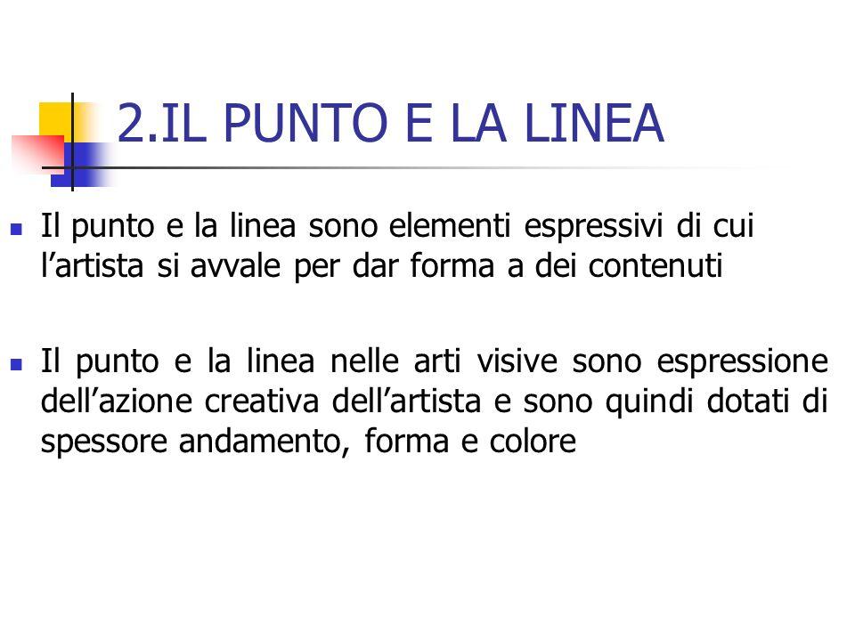 2.IL PUNTO E LA LINEA Il punto e la linea sono elementi espressivi di cui lartista si avvale per dar forma a dei contenuti Il punto e la linea nelle a