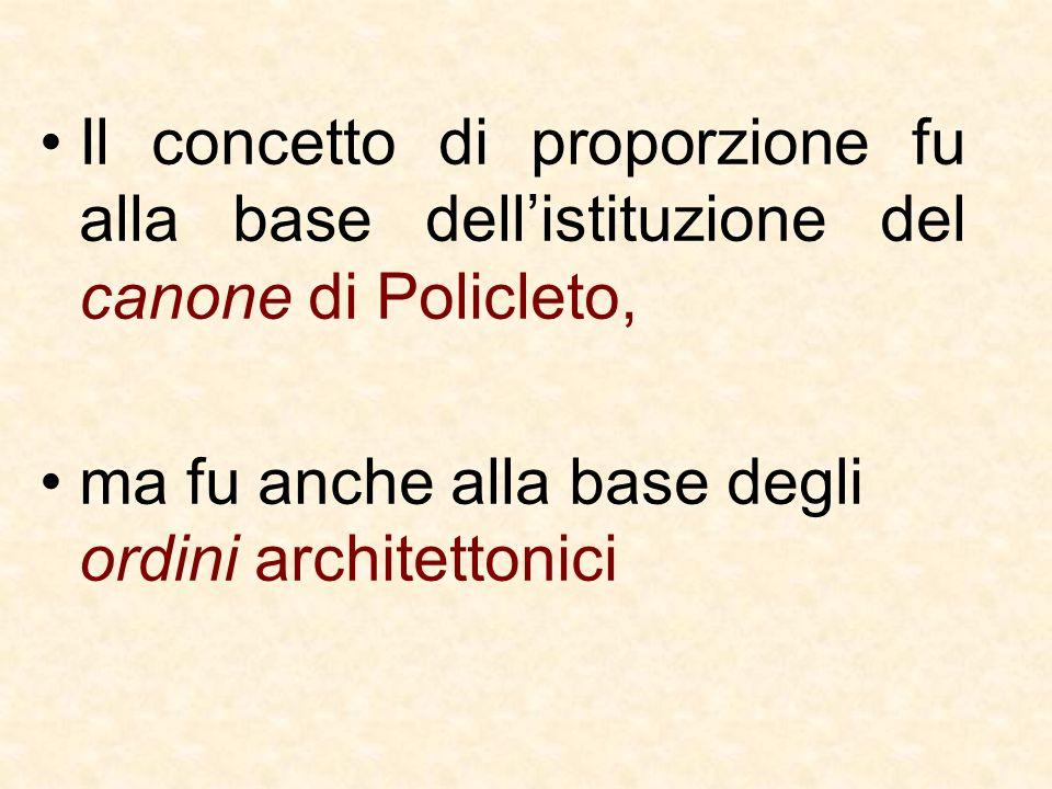 Il concetto di proporzione fu alla base dellistituzione del canone di Policleto, ma fu anche alla base degli ordini architettonici