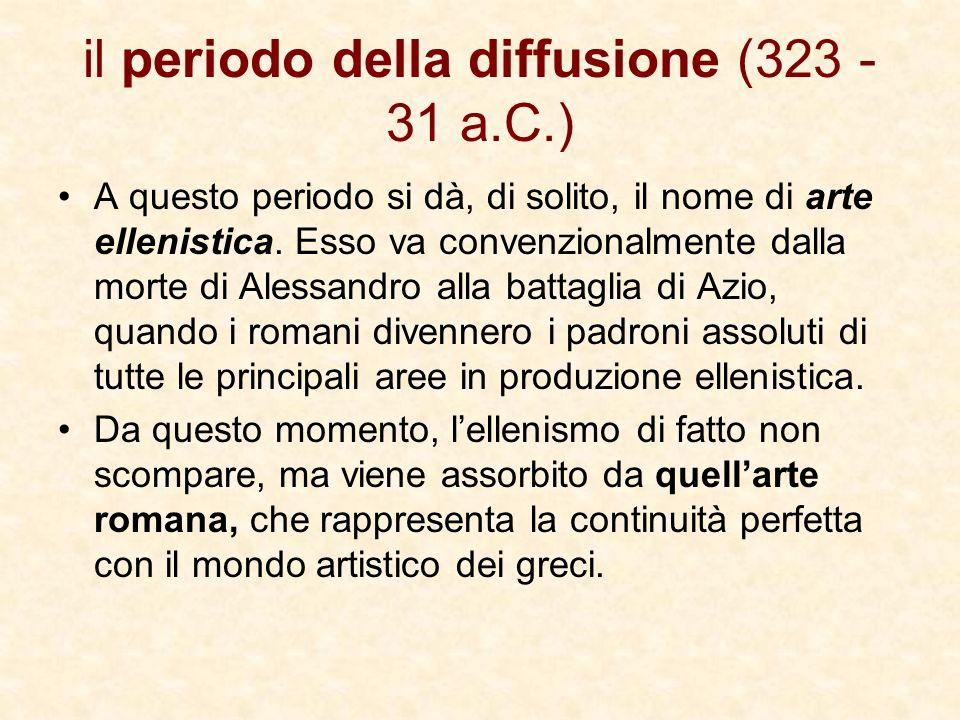 il periodo della diffusione (323 - 31 a.C.) A questo periodo si dà, di solito, il nome di arte ellenistica. Esso va convenzionalmente dalla morte di A