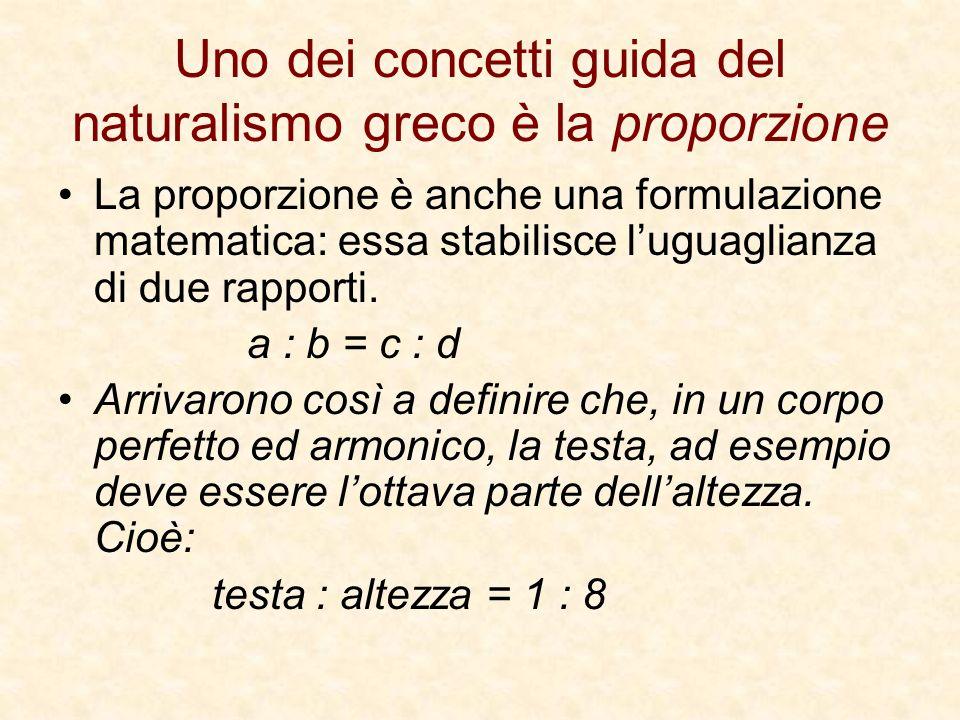 Uno dei concetti guida del naturalismo greco è la proporzione La proporzione è anche una formulazione matematica: essa stabilisce luguaglianza di due