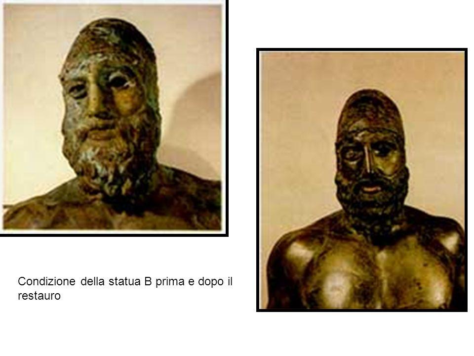 Condizione della statua B prima e dopo il restauro