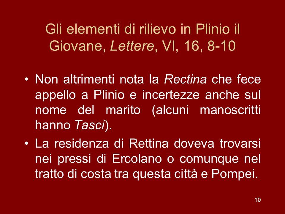 10 Gli elementi di rilievo in Plinio il Giovane, Lettere, VI, 16, 8-10 Non altrimenti nota la Rectina che fece appello a Plinio e incertezze anche sul