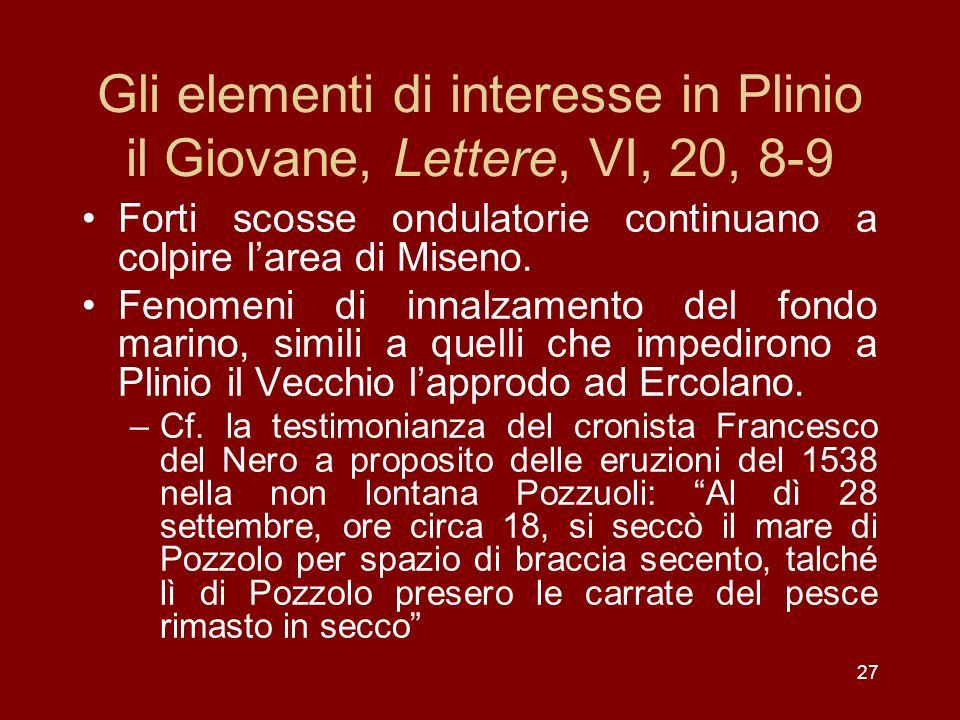 Gli elementi di interesse in Plinio il Giovane, Lettere, VI, 20, 8-9 Forti scosse ondulatorie continuano a colpire larea di Miseno. Fenomeni di innalz