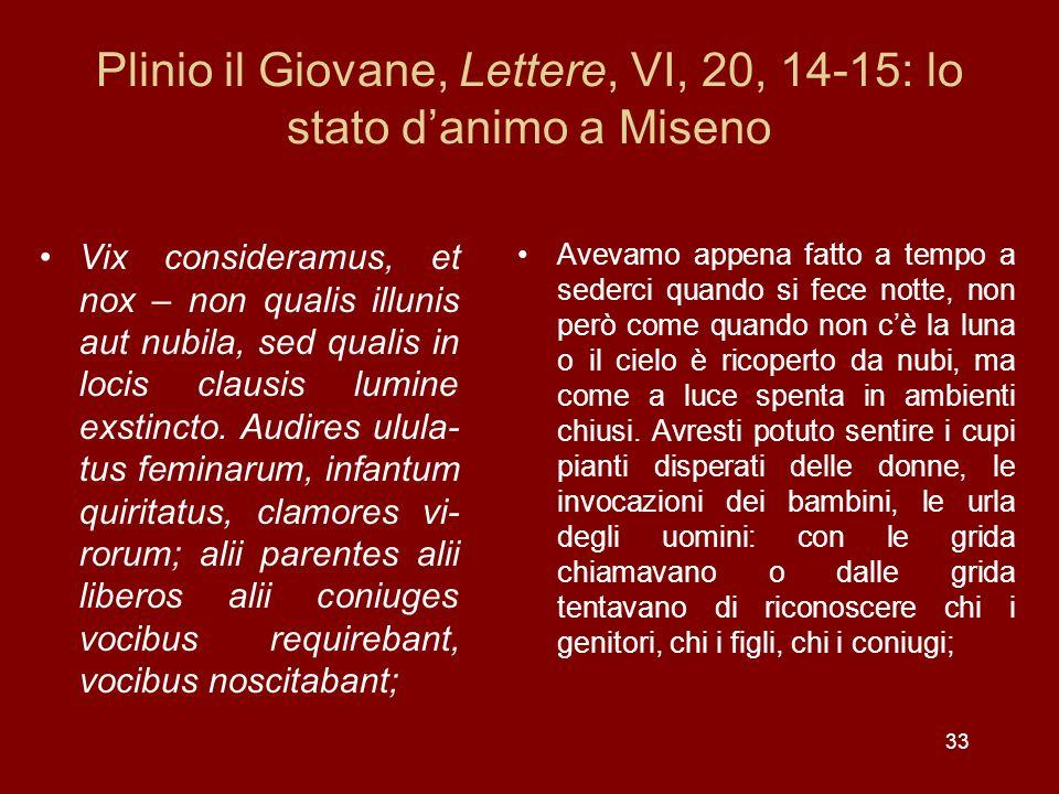 33 Plinio il Giovane, Lettere, VI, 20, 14-15: lo stato danimo a Miseno Vix consideramus, et nox – non qualis illunis aut nubila, sed qualis in locis c