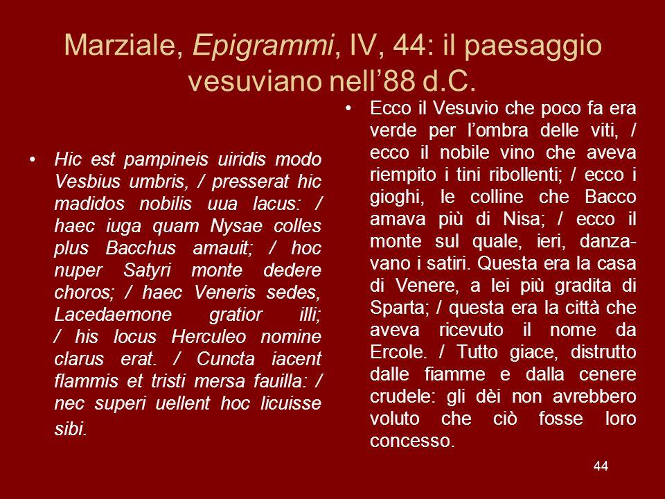 44 Marziale, Epigrammi, IV, 44: il paesaggio vesuviano nell88 d.C. Hic est pampineis uiridis modo Vesbius umbris, / presserat hic madidos nobilis uua