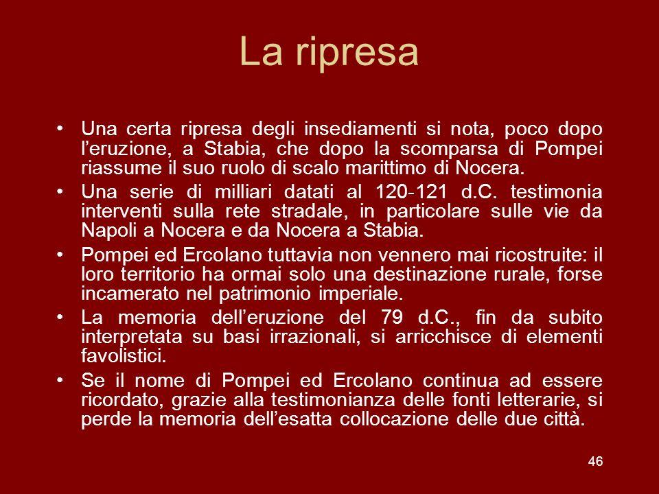 La ripresa Una certa ripresa degli insediamenti si nota, poco dopo leruzione, a Stabia, che dopo la scomparsa di Pompei riassume il suo ruolo di scalo