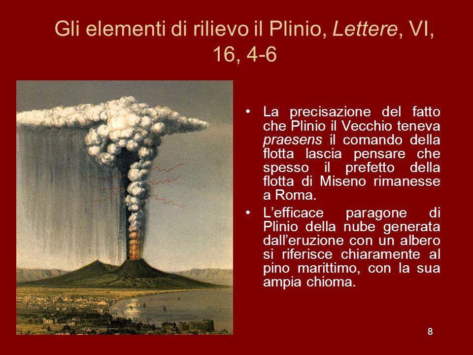 19 Plinio il Giovane, Lettere, VI, 16, 13-14: a Stabia la situazione precipita Interim e Vesuvio monte pluribus locis la- tissimae flammae alta- que incendia reluce- bant, quorum fulgor et claritas tenebris noctis excitabatur … Sed area ex qua diaeta adibatur ita iam cinere mixtisque pumicibus oppleta sur- rexerat, ut si longior in cubiculo mora, exitus negaretur.