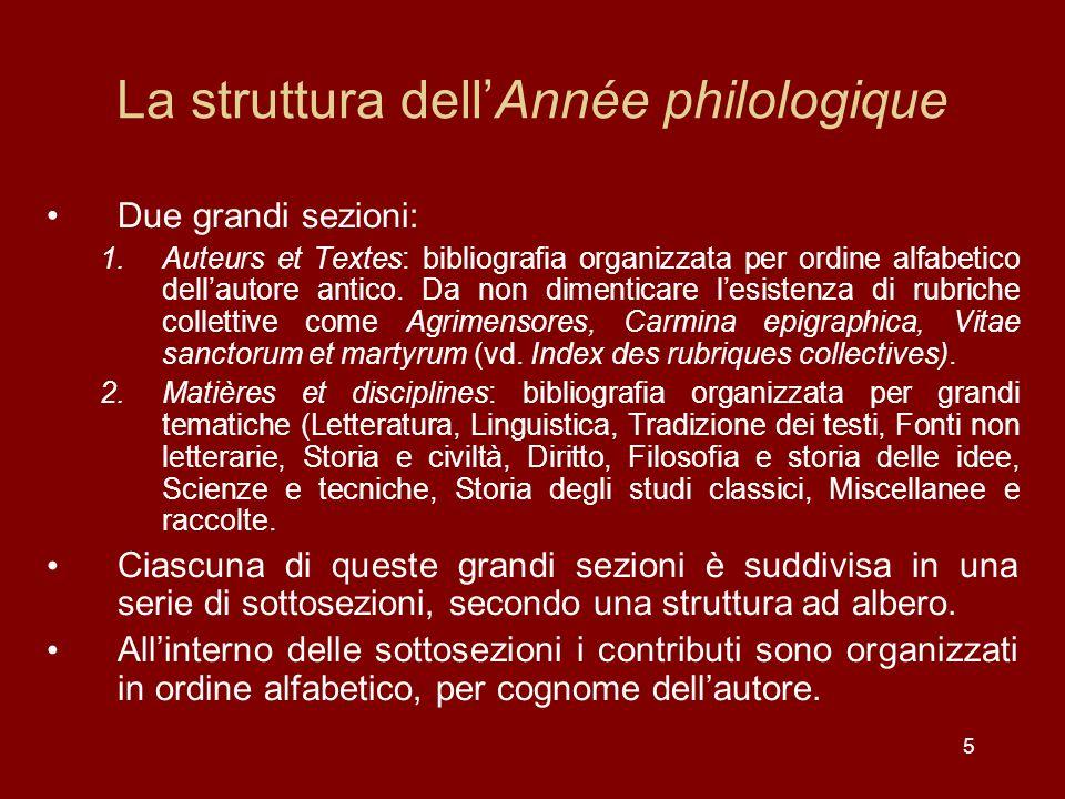 5 La struttura dellAnnée philologique Due grandi sezioni: 1.Auteurs et Textes: bibliografia organizzata per ordine alfabetico dellautore antico.