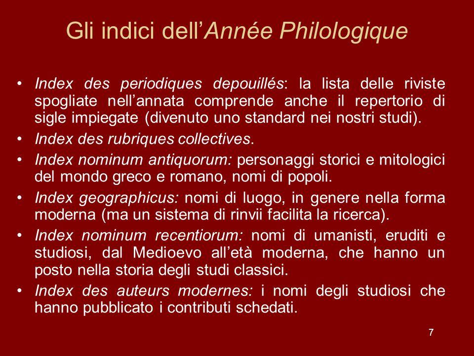 7 Gli indici dellAnnée Philologique Index des periodiques depouillés: la lista delle riviste spogliate nellannata comprende anche il repertorio di sigle impiegate (divenuto uno standard nei nostri studi).
