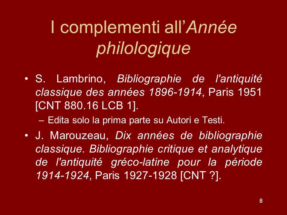 8 I complementi allAnnée philologique S.