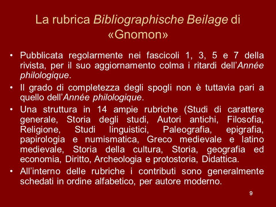 9 La rubrica Bibliographische Beilage di «Gnomon» Pubblicata regolarmente nei fascicoli 1, 3, 5 e 7 della rivista, per il suo aggiornamento colma i ritardi dellAnnée philologique.