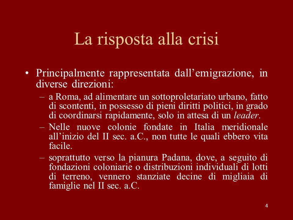 4 La risposta alla crisi Principalmente rappresentata dallemigrazione, in diverse direzioni: –a Roma, ad alimentare un sottoproletariato urbano, fatto