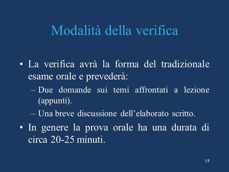 15 Modalità della verifica La verifica avrà la forma del tradizionale esame orale e prevederà: –Due domande sui temi affrontati a lezione (appunti). –