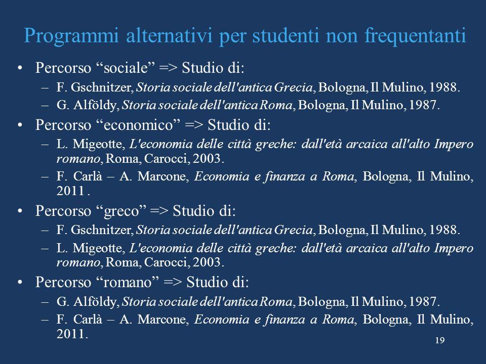 19 Programmi alternativi per studenti non frequentanti Percorso sociale => Studio di: –F. Gschnitzer, Storia sociale dell'antica Grecia, Bologna, Il M