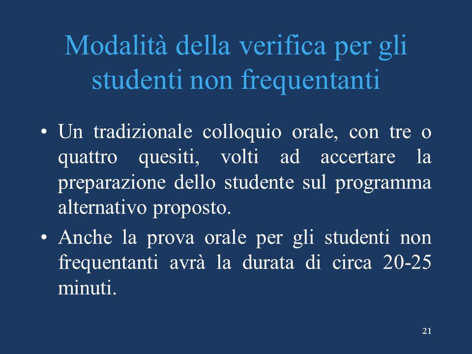 21 Modalità della verifica per gli studenti non frequentanti Un tradizionale colloquio orale, con tre o quattro quesiti, volti ad accertare la prepara
