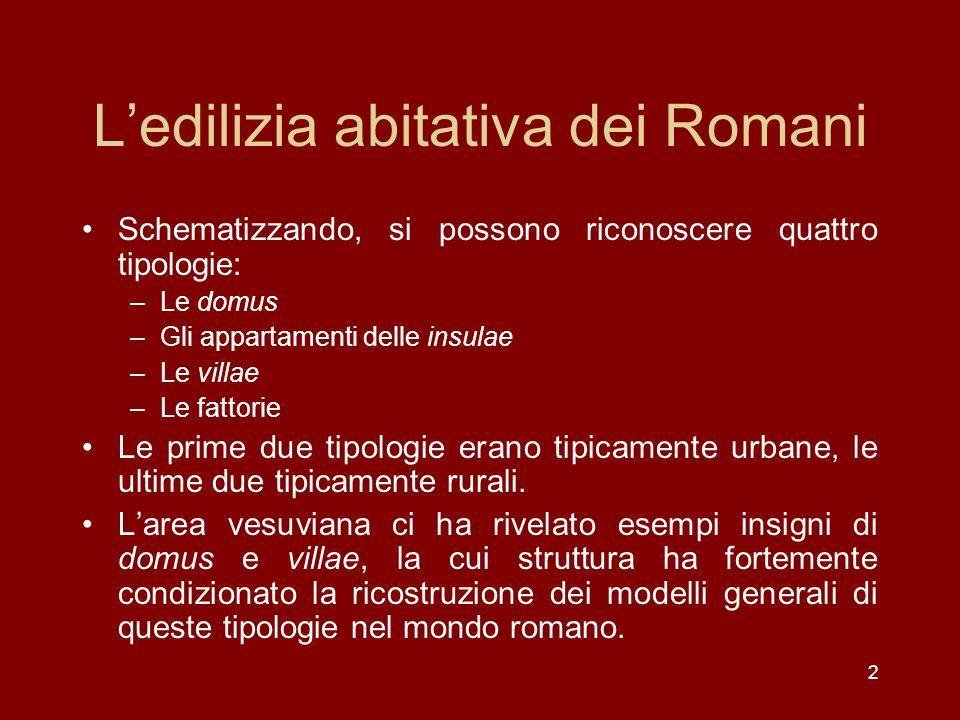2 Ledilizia abitativa dei Romani Schematizzando, si possono riconoscere quattro tipologie: –Le domus –Gli appartamenti delle insulae –Le villae –Le fa