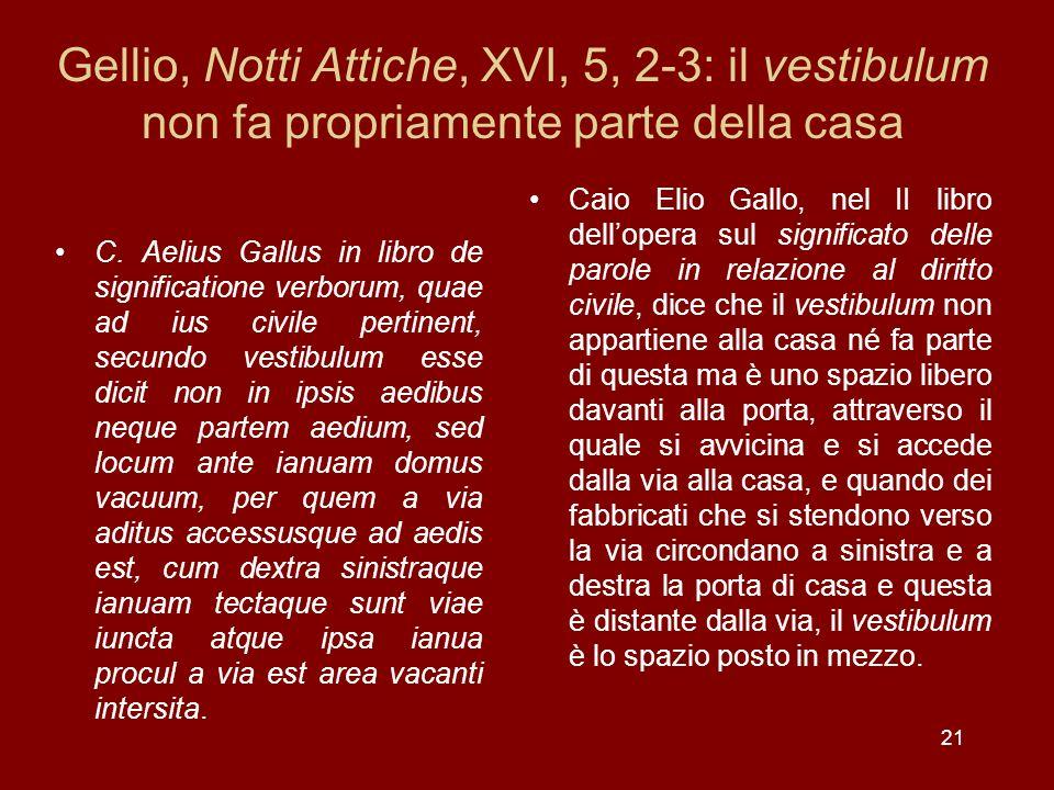 Gellio, Notti Attiche, XVI, 5, 2-3: il vestibulum non fa propriamente parte della casa C. Aelius Gallus in libro de significatione verborum, quae ad i