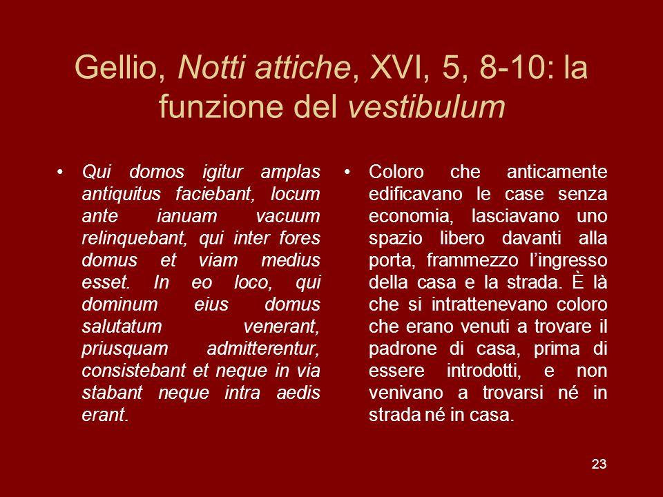 Gellio, Notti attiche, XVI, 5, 8-10: la funzione del vestibulum Qui domos igitur amplas antiquitus faciebant, locum ante ianuam vacuum relinquebant, q