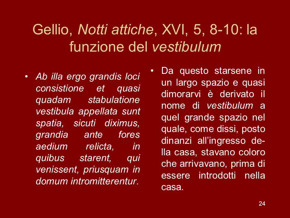 Gellio, Notti attiche, XVI, 5, 8-10: la funzione del vestibulum Ab illa ergo grandis loci consistione et quasi quadam stabulatione vestibula appellata