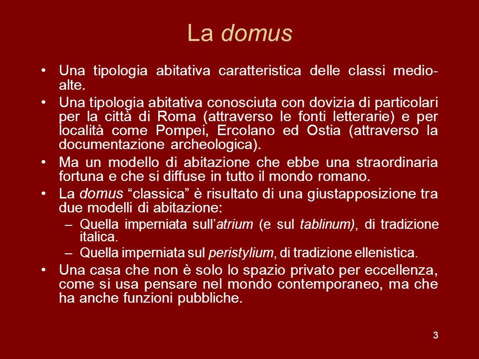 Vitruvio, Larchitettura, VI, 5, 2: la connotazione socio-economica della domus Nobilibus vero, qui honores magistratusque gerundo prae- stare debent officia civibus, faciunda sunt vestibula regalia alta, atria et peristylia amplis- sima, silvae ambulationesque laxiores ad decorem maiestatis perfectae; praeterea bybliothe- cas, basilicas non dissimili modo quam publicorum operum magnificentia comparatas, quod in domibus eorum saepi- us et publica consilia et privata iudicia arbitriaque conficiuntur.