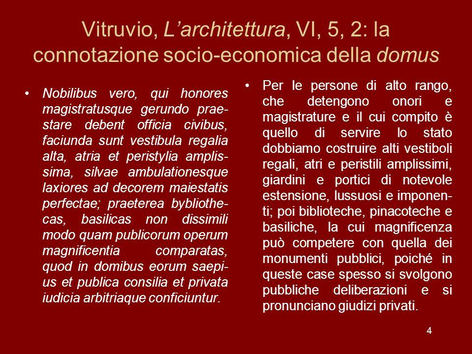 Vitruvio, Larchitettura, VI, 5, 2: la connotazione socio-economica della domus Nobilibus vero, qui honores magistratusque gerundo prae- stare debent o