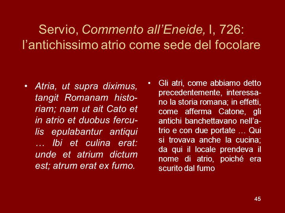 Servio, Commento allEneide, I, 726: lantichissimo atrio come sede del focolare Atria, ut supra diximus, tangit Romanam histo- riam; nam ut ait Cato et