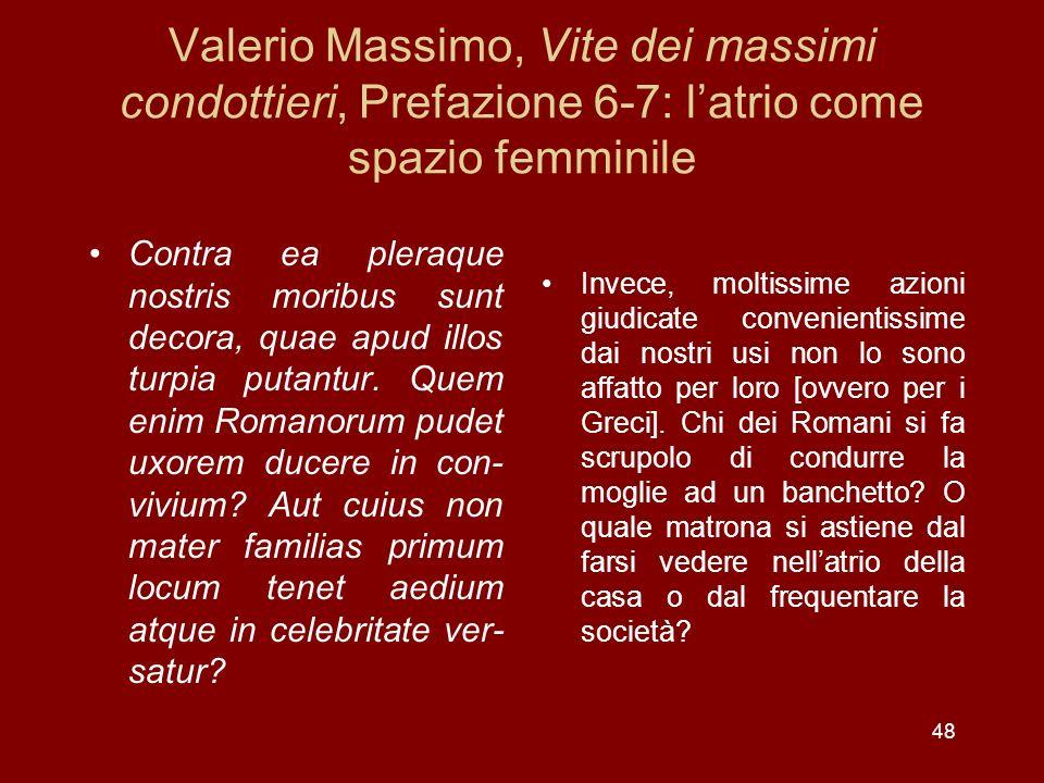 Valerio Massimo, Vite dei massimi condottieri, Prefazione 6-7: latrio come spazio femminile Contra ea pleraque nostris moribus sunt decora, quae apud