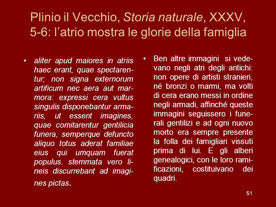 Plinio il Vecchio, Storia naturale, XXXV, 5-6: latrio mostra le glorie della famiglia aliter apud maiores in atriis haec erant, quae spectaren- tur; n