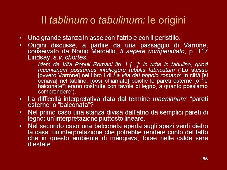 65 Il tablinum o tabulinum: le origini Una grande stanza in asse con latrio e con il peristilio. Origini discusse, a partire da una passaggio di Varro
