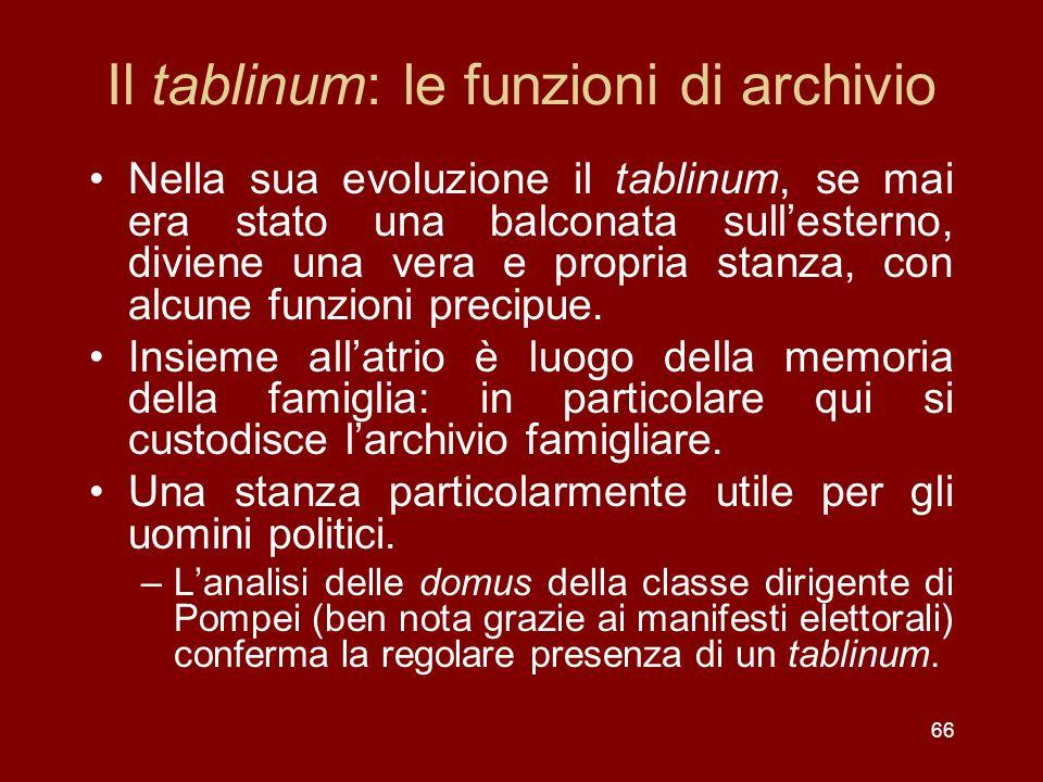 Il tablinum: le funzioni di archivio Nella sua evoluzione il tablinum, se mai era stato una balconata sullesterno, diviene una vera e propria stanza,