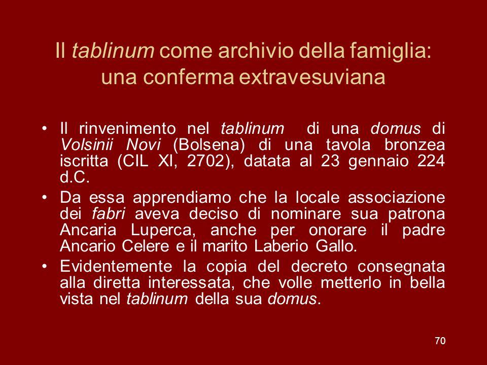 Il tablinum come archivio della famiglia: una conferma extravesuviana Il rinvenimento nel tablinum di una domus di Volsinii Novi (Bolsena) di una tavo