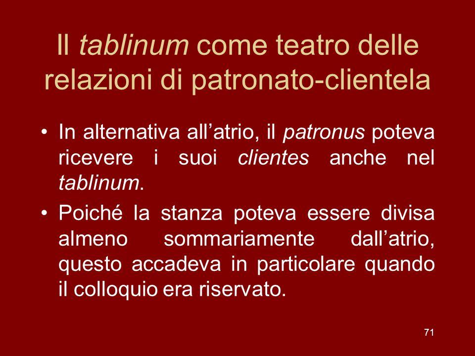 Il tablinum come teatro delle relazioni di patronato-clientela In alternativa allatrio, il patronus poteva ricevere i suoi clientes anche nel tablinum