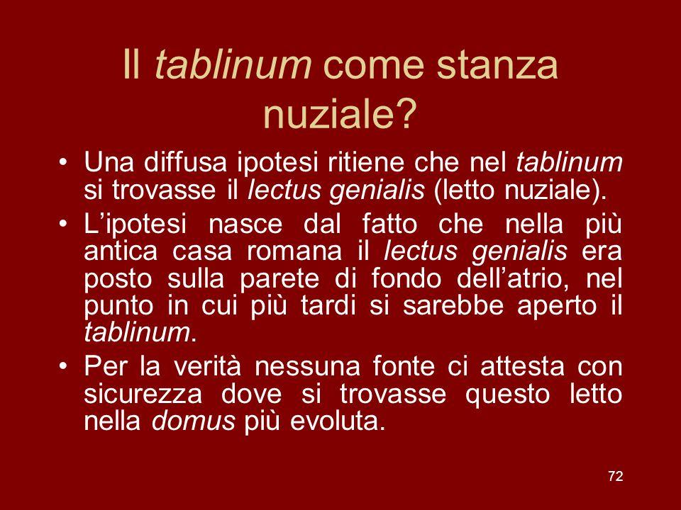 Il tablinum come stanza nuziale? Una diffusa ipotesi ritiene che nel tablinum si trovasse il lectus genialis (letto nuziale). Lipotesi nasce dal fatto