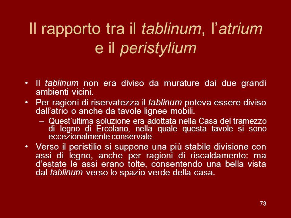 Il rapporto tra il tablinum, latrium e il peristylium Il tablinum non era diviso da murature dai due grandi ambienti vicini. Per ragioni di riservatez