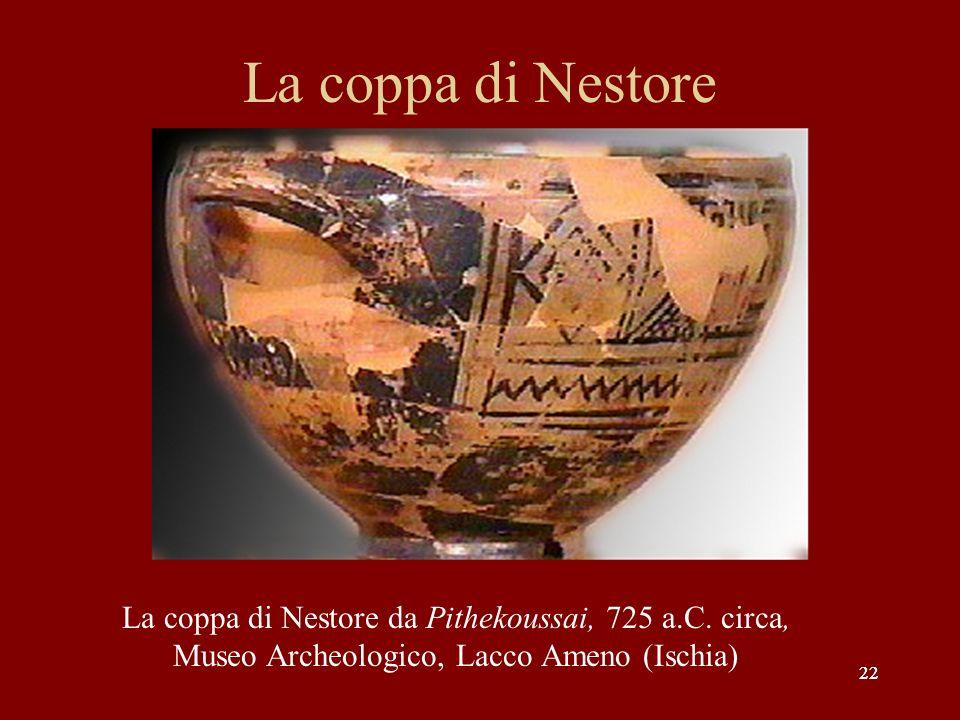 22 La coppa di Nestore 22 La coppa di Nestore da Pithekoussai, 725 a.C. circa, Museo Archeologico, Lacco Ameno (Ischia)