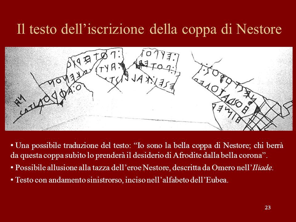 23 Il testo delliscrizione della coppa di Nestore 23 Una possibile traduzione del testo: Io sono la bella coppa di Nestore; chi berrà da questa coppa
