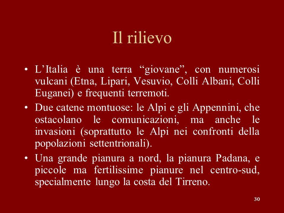 30 Il rilievo LItalia è una terra giovane, con numerosi vulcani (Etna, Lipari, Vesuvio, Colli Albani, Colli Euganei) e frequenti terremoti. Due catene